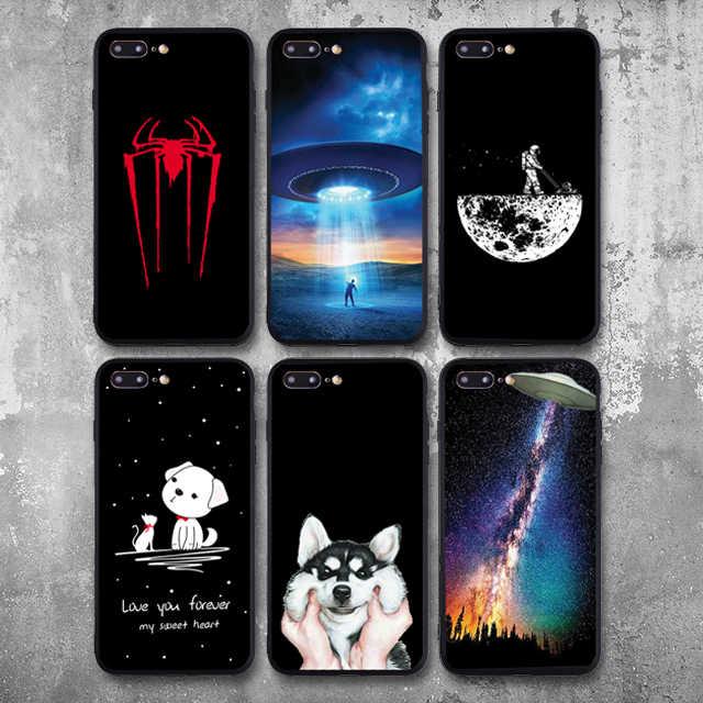 Mujeres Hombres astronauta funda para iPhone 8 funda espacio Luna planeta estrella suave TPU funda para iPhone 6S 7 más 5S XS Max XR X SE