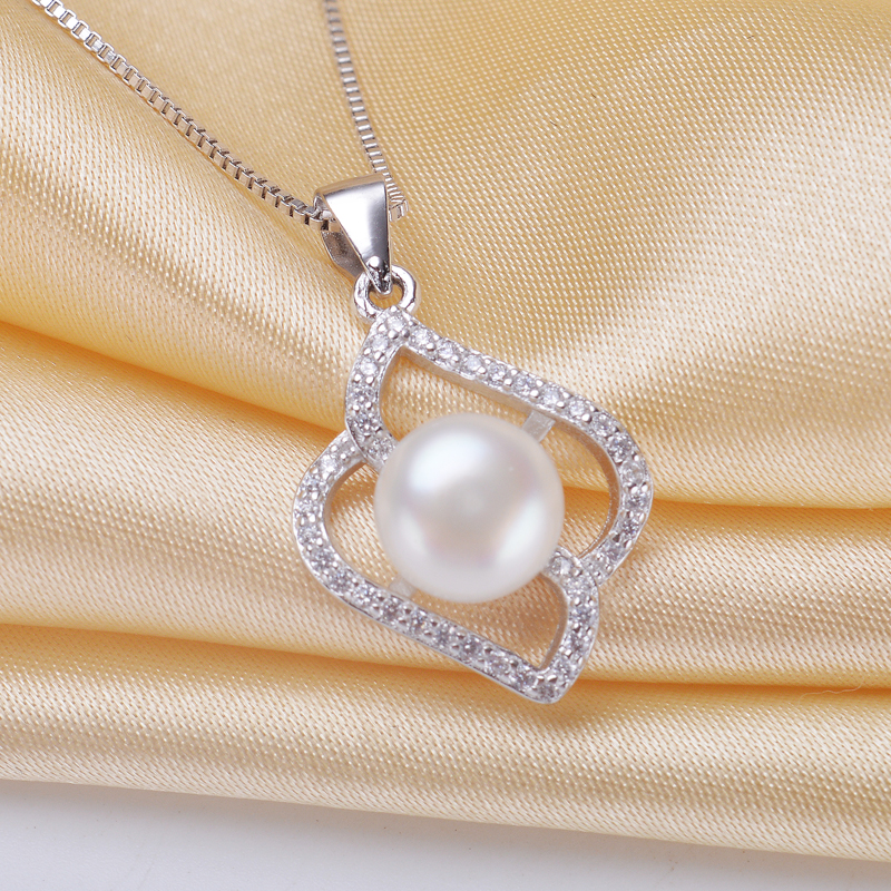 6224b733dd98 Elegante plata esterlina 925 ZIRCON COLLAR COLGANTE con cadena de plata AAA  agua dulce botón joyería de moda para las mujeres