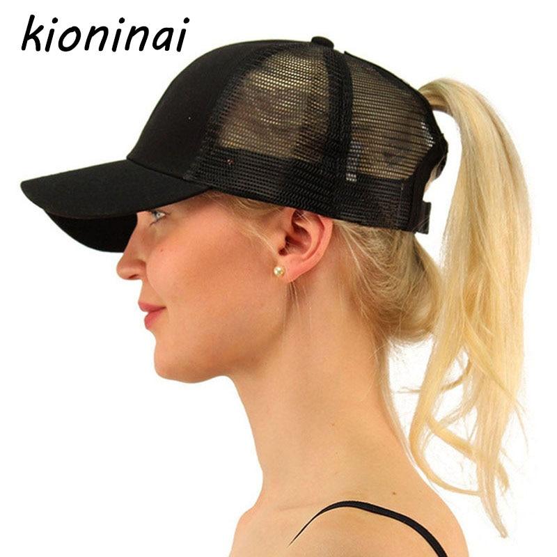 Kioninai 2018 Ponytail Baseball Cap Women Tennis Cap Put Hair Out Messy Bun Baseball Hat Snapback Cotton Cap Hat Girl Bone waugh e put out more flags