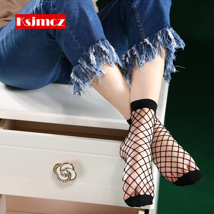 3 Pair KSJMCZ Sexy Black Mesh Fishnet Socks Stretchable Short Hosiery Ankle Socks Sexy Comfortable Woman