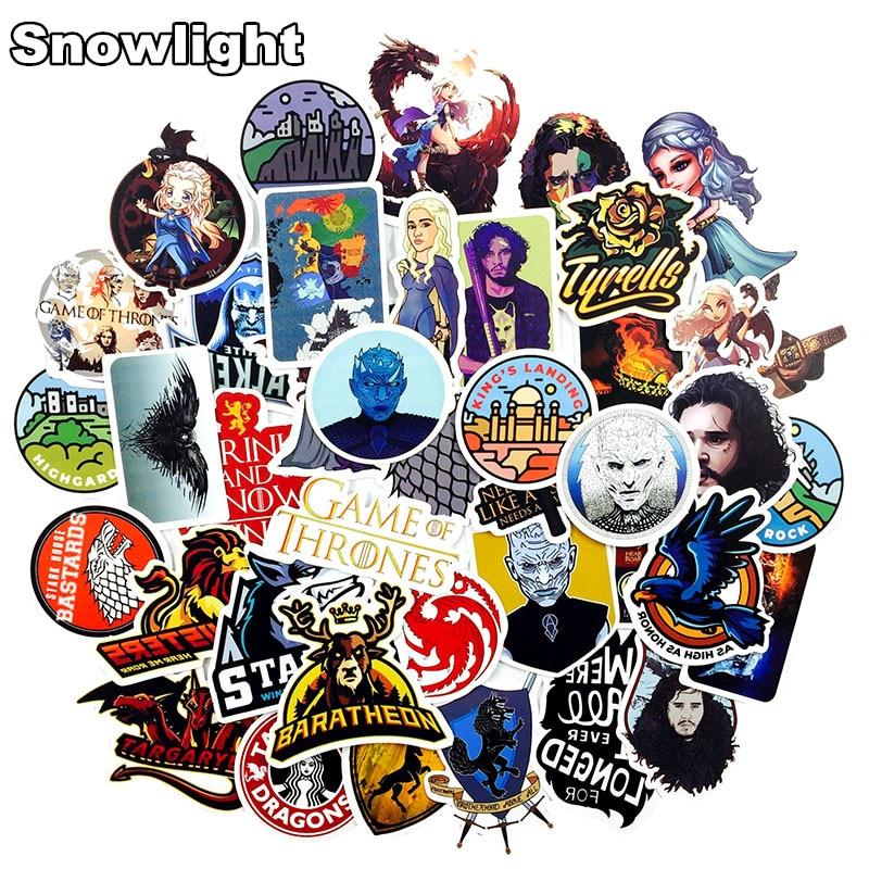 50 Pcs/lot Game Of Thrones PVC Waterproof Sticker For Mobile Phone Laptop Luggage Guitar Case Skateboard Bike Car Sticker