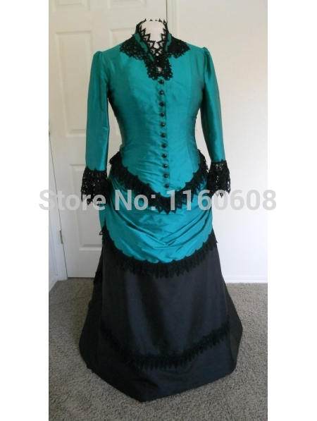 Green and Black Long Sleeves Victorian Bustle Ball Gown