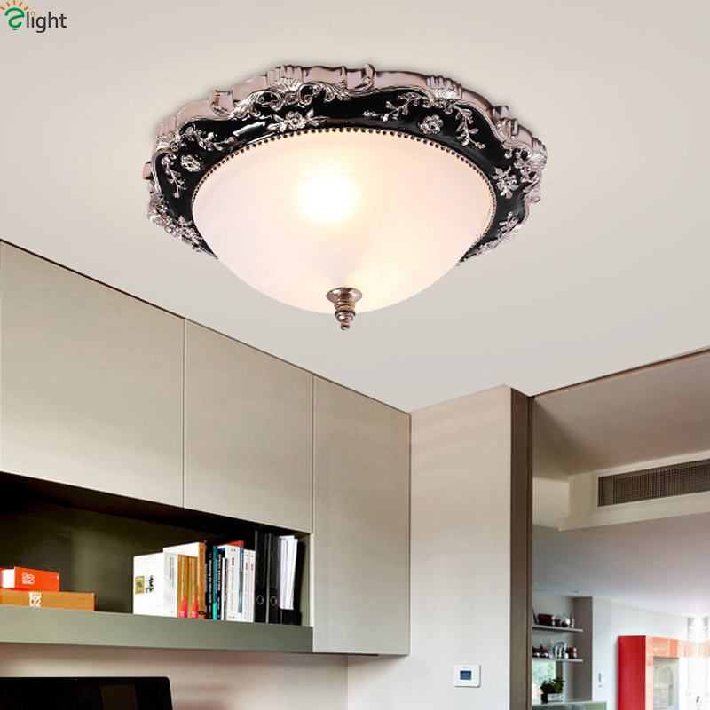 Lustre Flower Resin Led Ceiling Lamp Living Room Glass Shades Led Ceiling Lights Bedroom Led Ceiling Light Fixtures american retro iron e27 led ceiling lights lustre glass bedroom led ceiling lamp balcony led ceiling lighting light fixtures