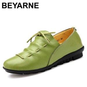 Image 1 - BEYARNE חדש אופנה עור מוקסינים נשי נוח יולדות שטוח נעלי העקב אחת נעליים יומיומיות משלוח Drop חינם