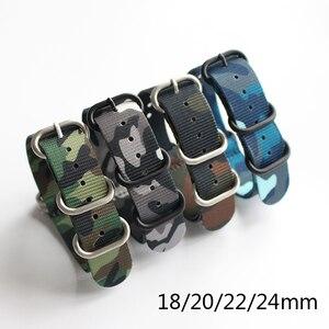 Новые камуфляжные нейлоновые Ремешки для наручных часов NATO ремешок 18 мм 20 мм 22 мм 24 мм, спортивные камуфляжные нейлоновые ремешки для часов, ...