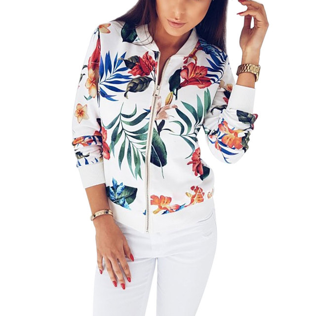 Casual Retro Floral Print Zipper Up Jacket for Women
