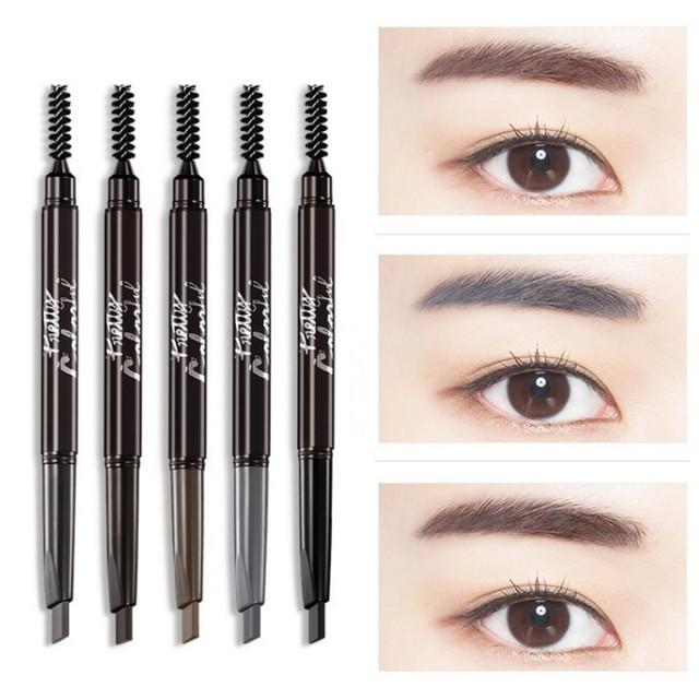2 en 1 pinzas de cejas de doble cabeza impermeable lápiz de cejas + brochas de cejas herramientas 5 colores cosméticos de ojos
