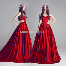 Custom Made Sweetheart A Line Prom Dresses Red Ruched Flat Satin Formal Girls Gowns yk1A431
