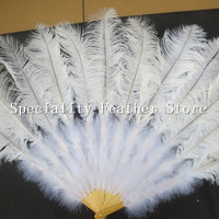 EMS Free shipping! White dancing decorative ostrich feathers and ostrich feather fan 12bones soft turkey hot