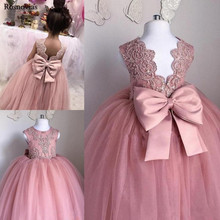 Blush Pink Ball Gown Flower Girl Dresses For Weddings 2019 Jewel Backless Child Birthday Party Gowns With Bow Girl Pageant Dress