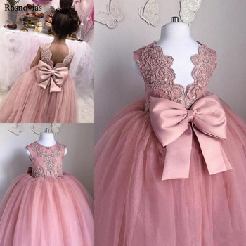 2016 new bling sequin hot pink flower girl dresses with bow baby birthday glitz party dress beauty pageant dresses ball gowns Blush Pink Ball Gown Flower Girl Dresses For Weddings 2020 Jewel Backless Child Birthday Party Gowns With Bow Girl Pageant Dress