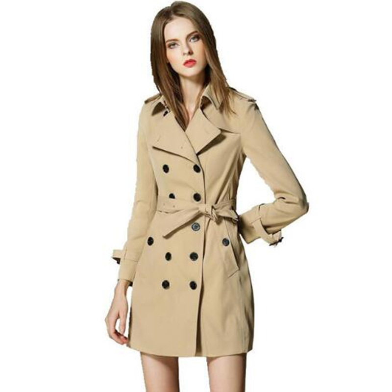 High quality   Trench   coat women 2018 Runway British Style brand design   trench   outerwear Mid long elegant female overcoat X162