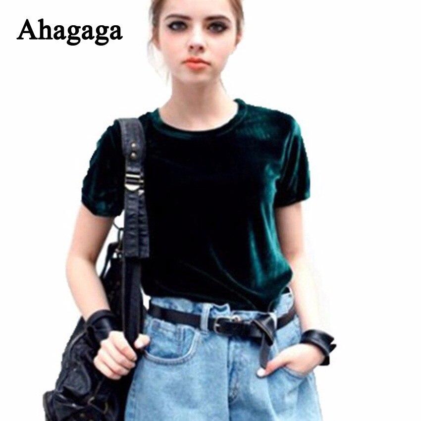 Ahagaga 2018 Autumn Velvet Tees   T     Shirt   Women Tops Fashion Solid Green Regular O-neck Outerwear Sexy Women   T  -shits Blusas Female