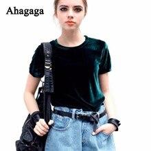 Ahagaga 2018 Autumn Velvet Tees T Shirt Women Tops Fashion Solid Green Regular O-neck Outerwear Sexy Women T-shits Blusas Female