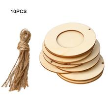 10pcs/set Wooden Mini Round Photo Frame Hanging Crafts DIY Handmade With Ropes Home Decoration Ornament