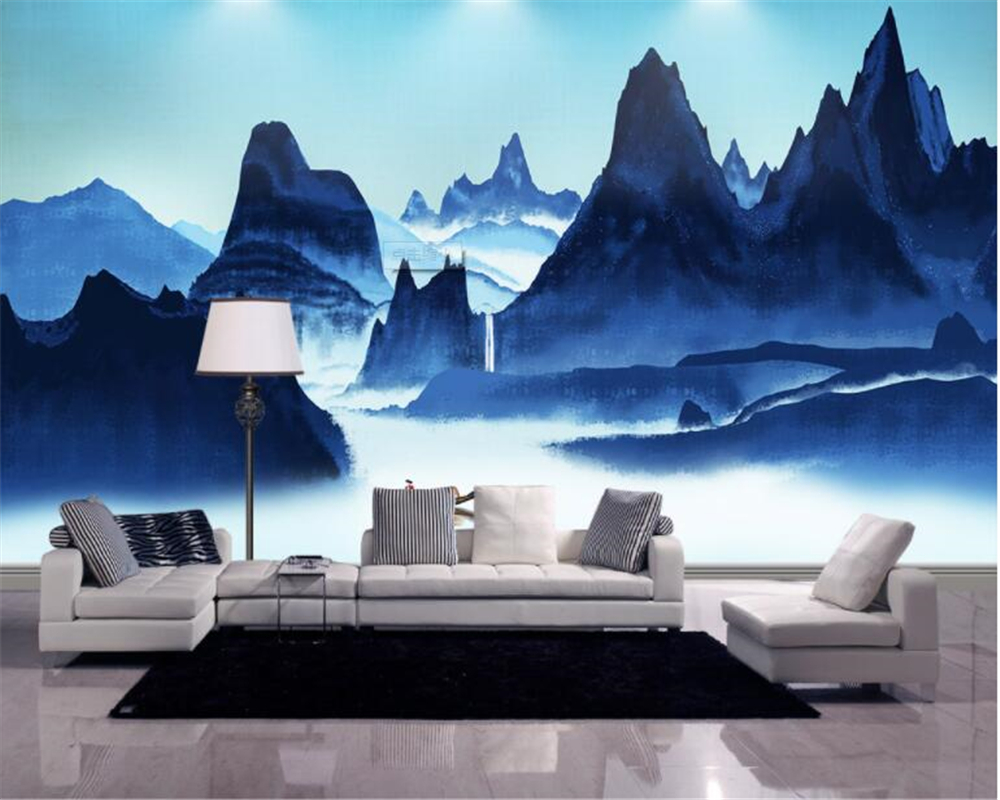 Beibehang Nova Moda Estilo Chinês Tinta Estilo Paisagem Pintura Decorativa Pintura de Parede Papel De Parede papel de parede 3d papel de parede tapety