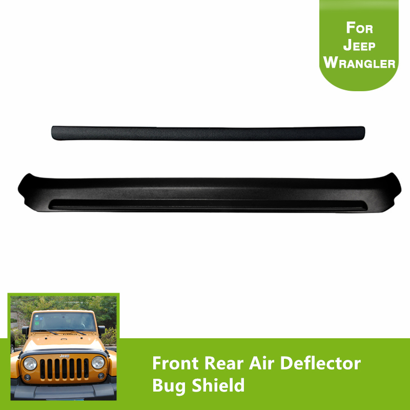 Front and Rear Stone & Bug Deflector Hood Shield  Black Bug Shield Air Deflector for 2007-2017 Jeep Wrangler car styling top mount hardtop rear grab handle bar front rear interior parts metal for jeep wrangler 2007 later