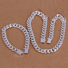 Fashion Men's 925 Sterling Silver Flat Sideways Necklace Bracelet Jewelry Set