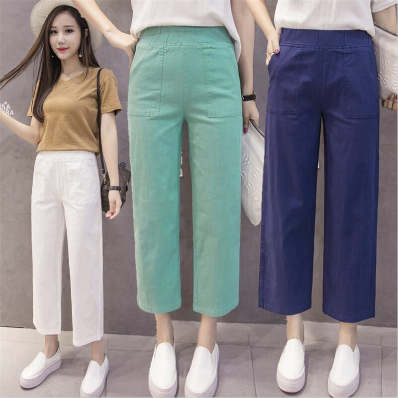 Summer   Pants   female All-match Loose Elastic Waist Plus size Calf-Length   Pants     Wide     leg     pants   Women casual   pants   M-5XL 6XL 7XL