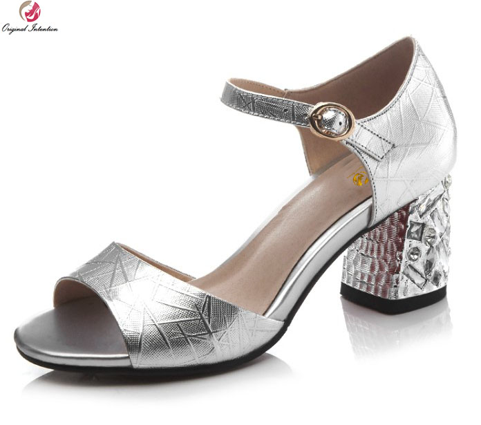 Original Intention Gorgeous Women Sandals Cow Leather Open Toe Square Heels Sandals Silver Dark Green Shoes Woman US Size 3 10.5
