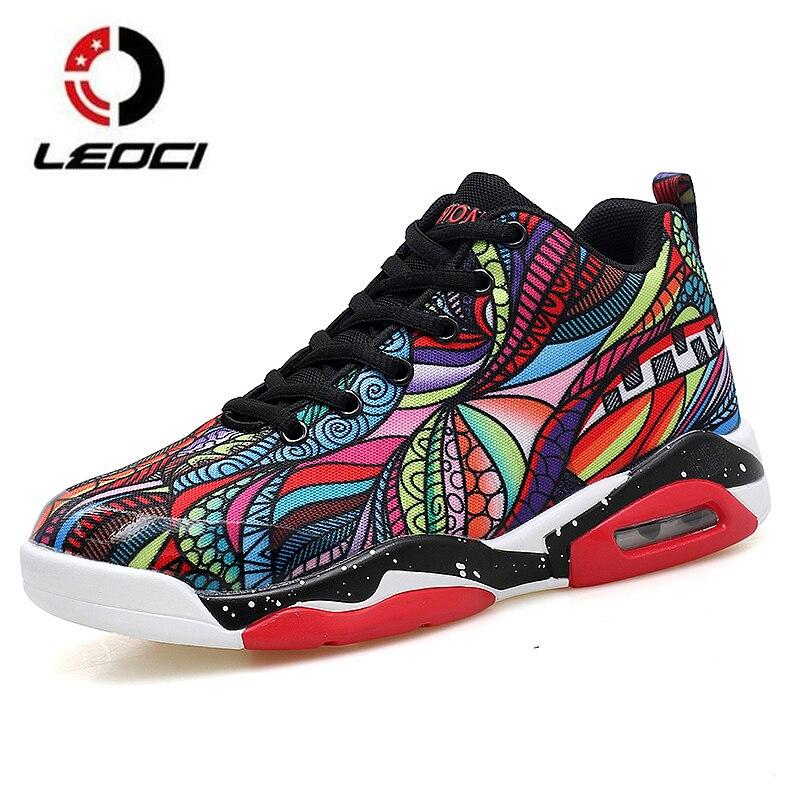 Kleurrijke Schilderen Mannen Vrouwen Basketbalschoenen Luchtkussen Liefhebbers Sneakers Mand Femme Outdoor Training Laarzen Plus Size 35-47