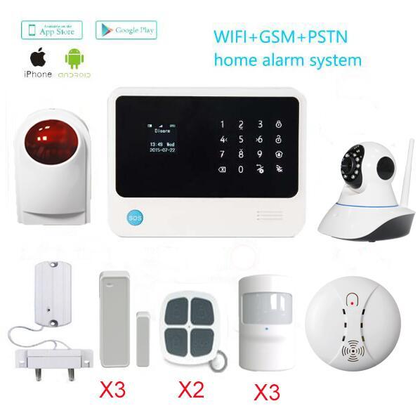 G90B plus gsm wifi gprs burglar alarm system APP control smoke detector outdoor siren wifi IP camera water leakage sensor