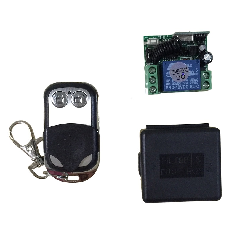 DPOTOP 433Mhz Universal Wireless Remote Control Switch 2CH Relay Receiver Module RF Transmitter Remote Controller DC 12V 10A