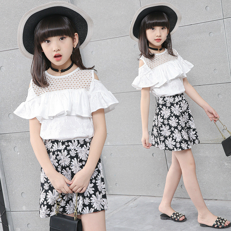 Baby Girls Clothing 2018 New Summer Cotton Floral 2 Piece Set Shirts + Skirts Sweet For Girl 4-16 Y Kids Children Clothes 5cs266