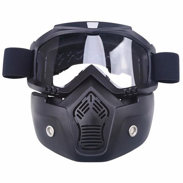 15b23cf28a Motocicleta cara máscara de polvo máscara y gafas desmontables y filtro de  la boca para Cafe