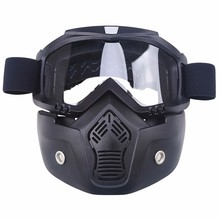 Motorcycle Face Mask Dust Mask&Detachable Goggles&Mouth Filter For Cafe Racer Modular Open Face Moto Vintage Helmets Motocross
