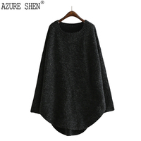AZURE SHEN Winter Loose For Women 2018 Casual Solid Color Black Pullover Asymmetrical Lady S