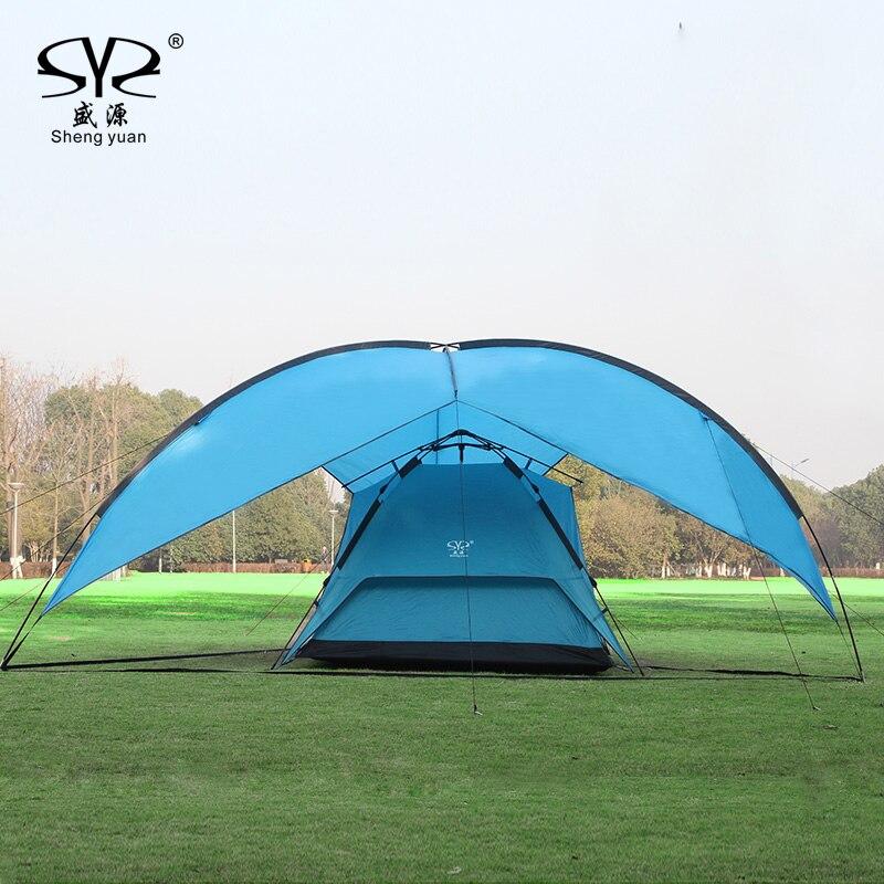 Sun Shelter UV With Poles Waterproof Awning Canopy Beach Tent Beach Shade Tarp Pergola Camping Picnic