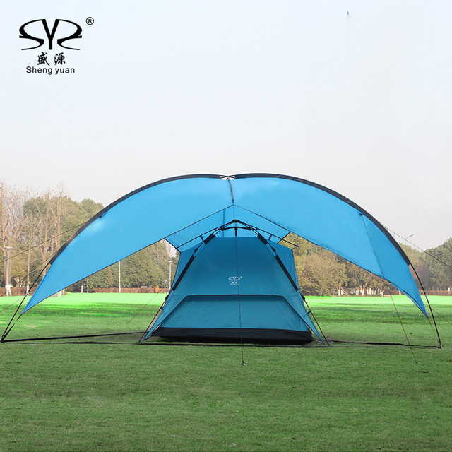 Sun Shelter Uv With Poles Waterproof Awning Canopy Beach Tent Shade Tarp Pergola Camping Picnic
