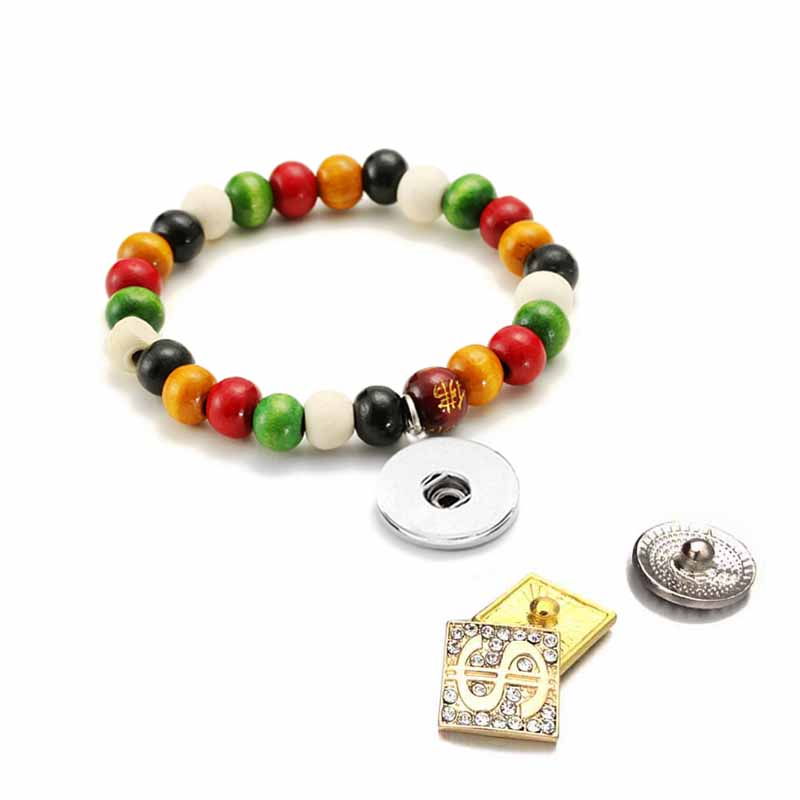 New 174 Interchangeable Candy Colors Expandable Stretch Wood Bead Bracelet fit 18mm Snap Button Jewelry women bangle Gift
