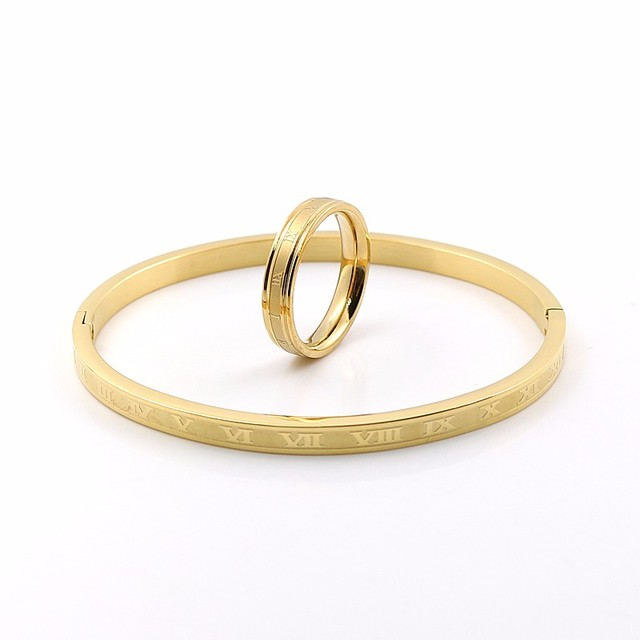 Fashion 3colors Roman Digital Design Bracelets Rings Jewelry Sets Wedding For Gold Bangle
