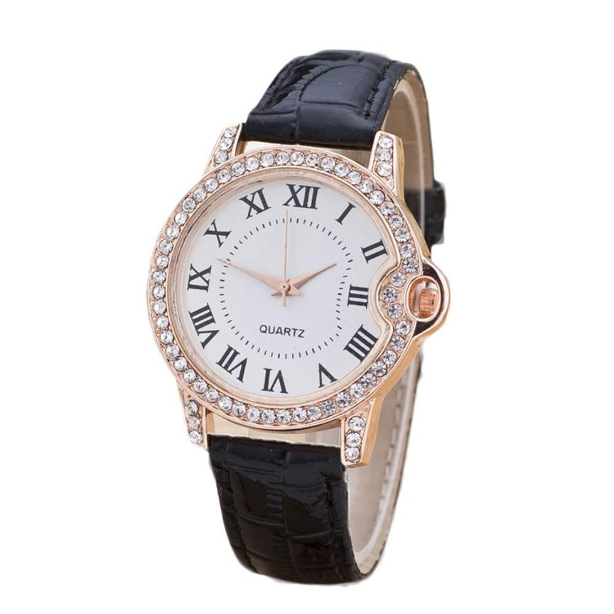 New 2018 Fashion Women Crystal Diamond Simple Leather Quartz Wrist Watch Womens Watches Luxury Crystal Bracelet Relojes Mujer #D amica luxury crystal diamond blue shell dial womens quartz watch ladies watch