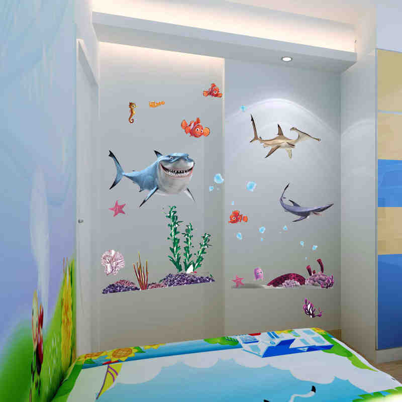 finding nemo fish ocean sea fish cartoon nemo bathroom kids baby nursery stickers 8078 decor. Black Bedroom Furniture Sets. Home Design Ideas
