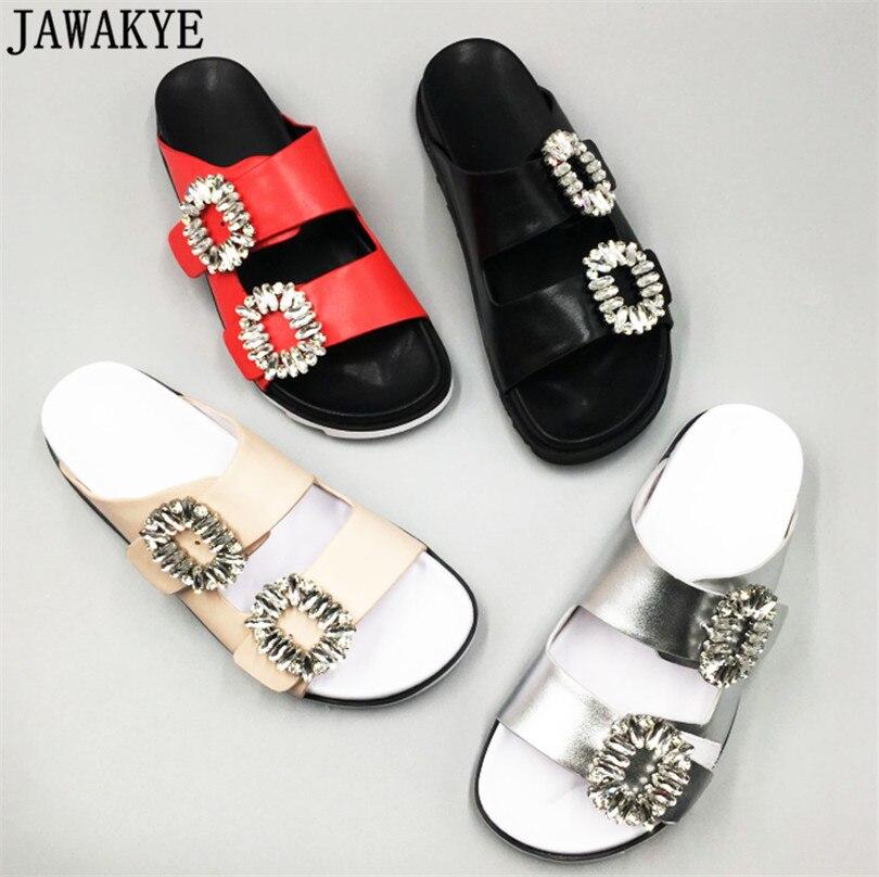 Летняя обувь на плоской подошве женские шлепанцы со стразами сандалии со стразами на платформе открытый уютный двойной пряжками Пляжные Та...