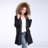 2017 מעיל פרווה חדש נשים מעיל מעיל חורף מעיילי parka צווארון גדול דביבון אמיתי פרווה אוניית שיער זאב טבעי ארוך הלבשה עליונה