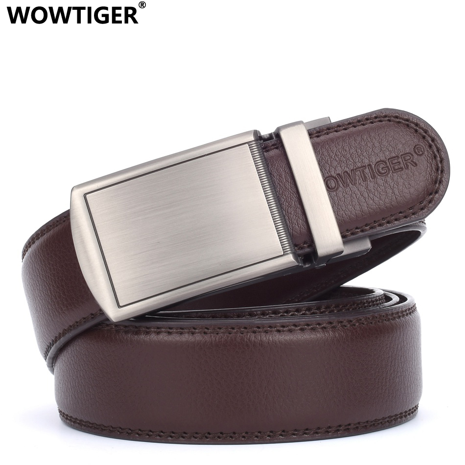 WOWTIGER Men Luxury Famous Brand Designer Male Genuine Leather Belt Automatic Buckle Strap Belts For Men Ceinture Homm