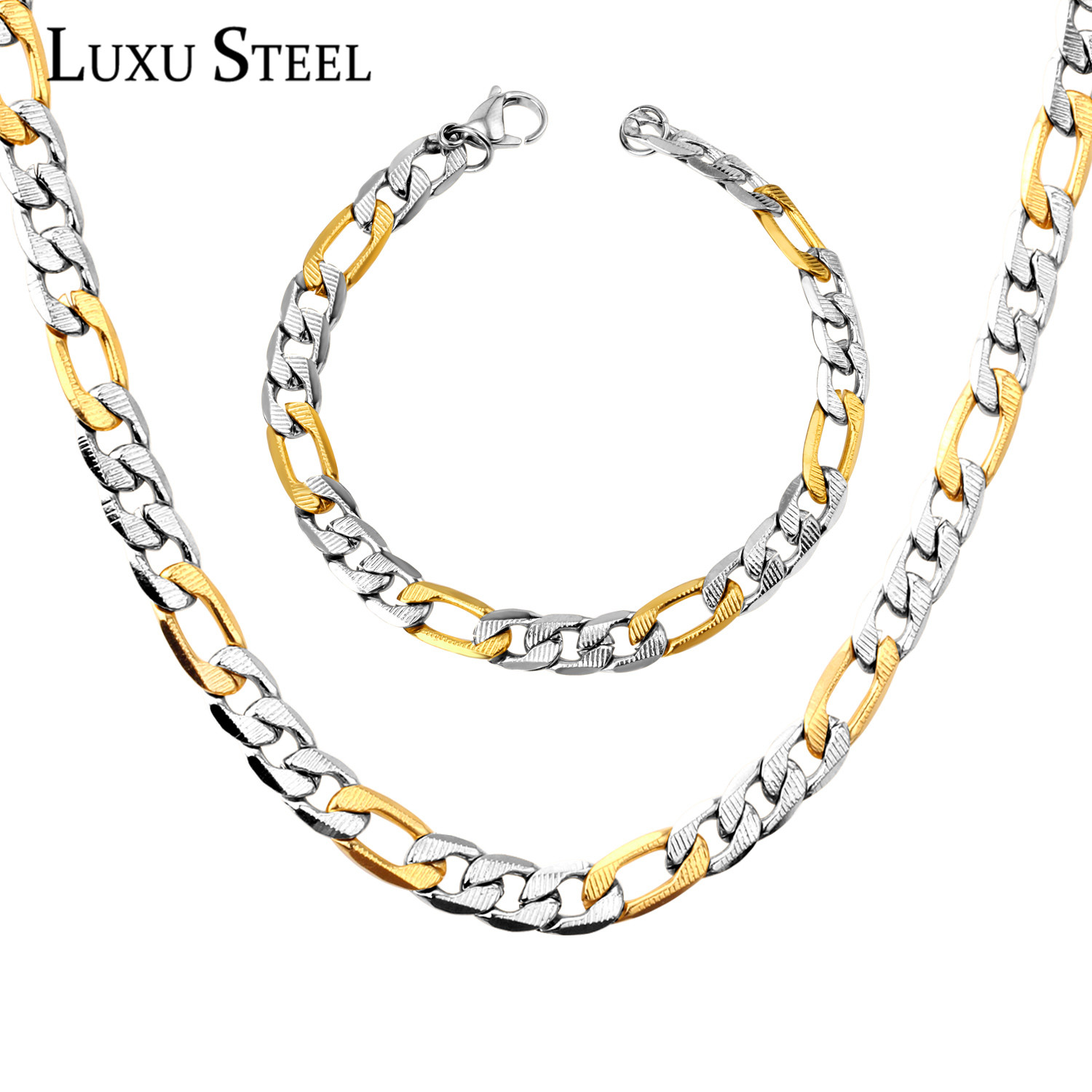 LUXUSTEEL Fashion Men's Jewelry Sets Stainless Steel Gold Color Curb Chain Necklace Bracelet Wholesale Jewelry