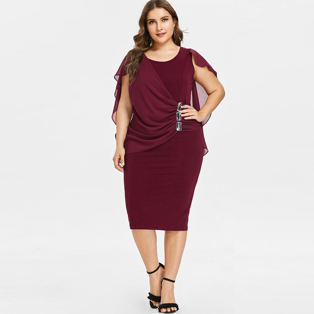Detail Feedback Questions about Kenancy Plus Size Rhinestone Embellished  Capelet Dress Wine Red 4XL Chiffon Sheath Bodycon Office Vestidos Vintage  Party ... 6f8e3faf5528