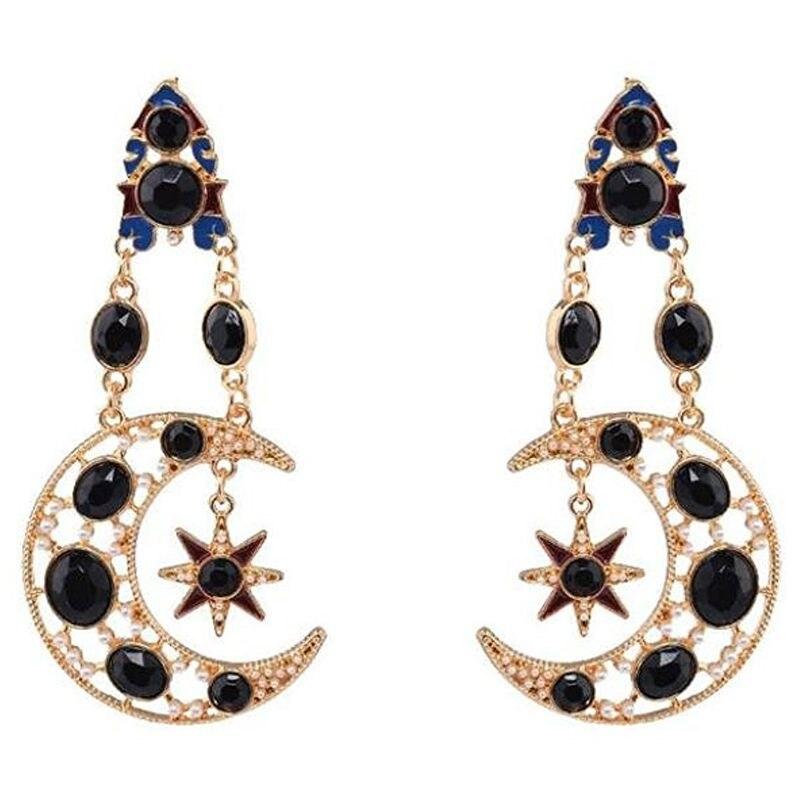Fashion Earrings, Women Diamond Sun Star Moon Ear Clip Earring Vintage Earring Gift(Black)