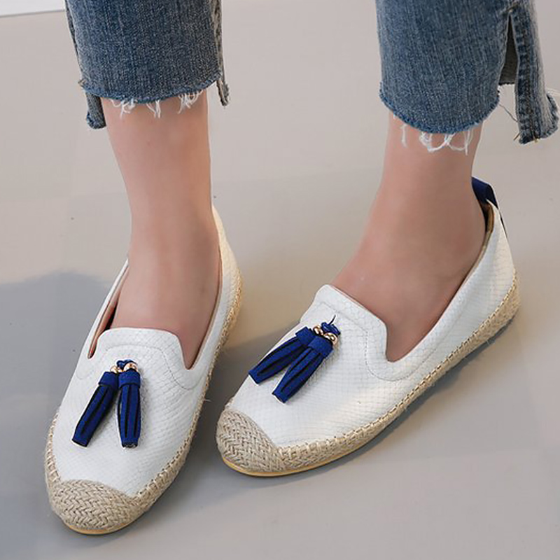 Flat Shoes Girls Casual Loafers Tassels Silp on shoes for women Round Toe Soft Fashion footwear Zapatillas mujer in Women 39 s Flats from Shoes