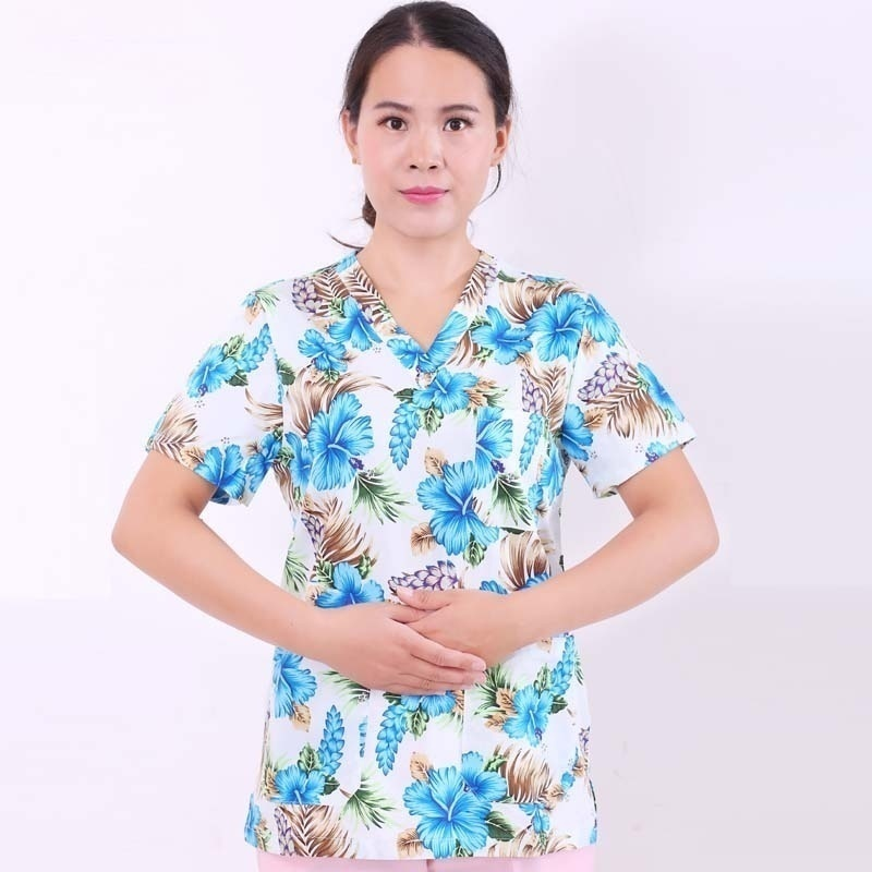 LOVE SHADOW 100% Cotton Medical Uniforms Printed Nurse Uniforms Women's Scrub Top V Neck Shirt Surgical Doctor Clothing Workwear