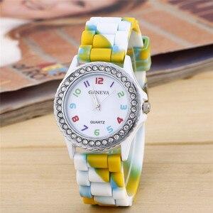 Top Fashion Creative Women Geneva Silicone Crystal Bling Analog Hour Quartz Wrist Watches Relojes Mujer Large Discount(China)