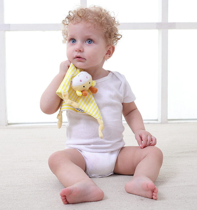 Newborn Toddler Kids Plush Cartoon Rattle Toy Baby Sleeping Newborn Stuffed Dolls Comfort Towel