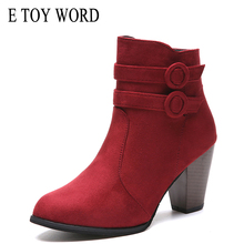 E TOY WORD Martin boots 2019 Autumn Winter Shoes Thick Heel High Heels Fashion womens ankle Boots warm size 40-43 women