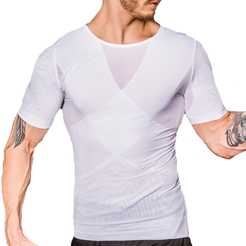 Men Gynecomastia Corsets Slimming Boobs Body Shaper Compression T-shirt Abdomen Control Big Belly Reducer Posture Corrector Tees