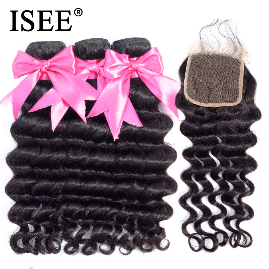 ISEE HAIR Brazilian Loose Deep Bundles With Closure 100% Remy Human Hair Bundles With Closure 3/4 Bundles Hair With Closure-in 3/4 Bundles with Closure from Hair Extensions & Wigs